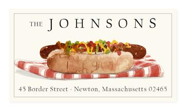Custom Address Stickers - Picnic Hot Dog