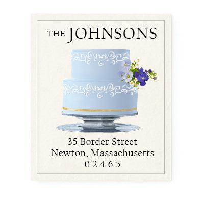 Custom Address Stickers - Blue Tiered Cake