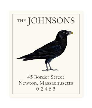 Custom Address Stickers - Black Crow