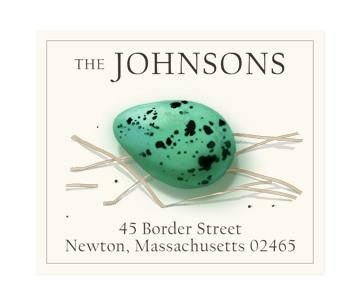 Custom Address Stickers - Blue Egg