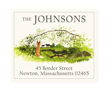 Custom Address Stickers - Fox with Arched Branch (2 Styles Available)