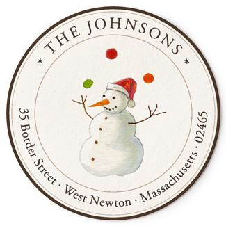Custom Address Stickers - Talented Snowman