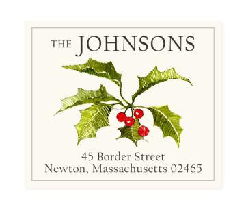 Custom Address Stickers - Christmas Holly (2 Styles Available)