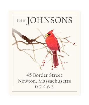 Custom Address Stickers - Cardinal and Berries