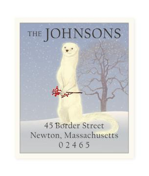 Custom Address Stickers - White Winter Mink