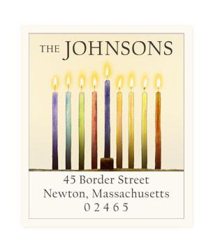 Custom Address Stickers - Hanukkah Candles