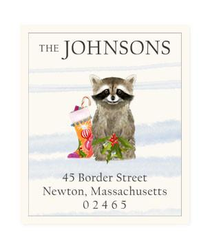 Custom Address Stickers - Christmas Raccoon