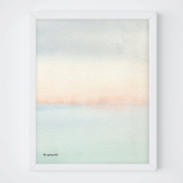 Abstract Ocean Watercolor Print