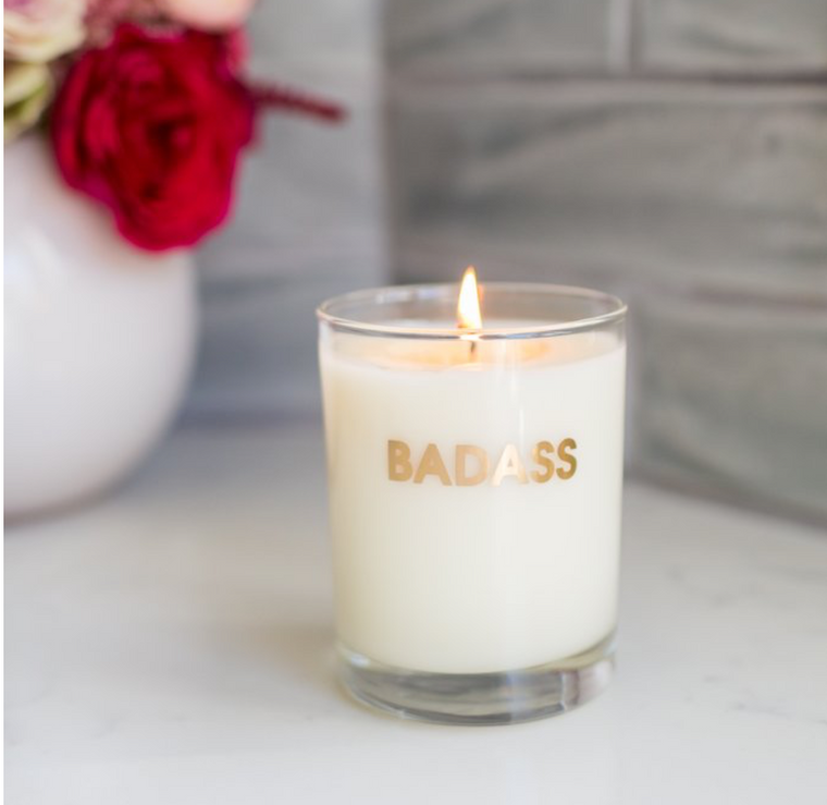 Badass Candle-Gold Foil Rocks Glass
