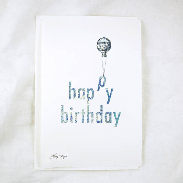 Happy Birthday hot air balloon silhouette birthday card by Honey Paper