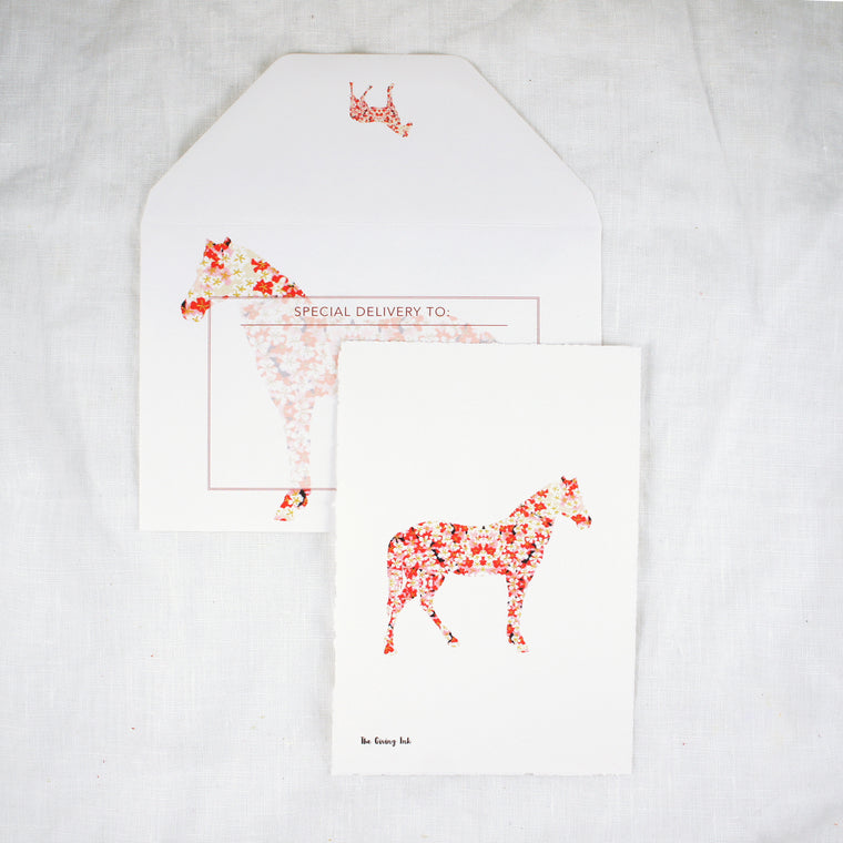Silhouette Horse Blossoms Greeting Card
