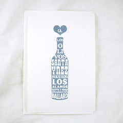 Woodblock Santa Ynez Valley Bottle Greeting Card