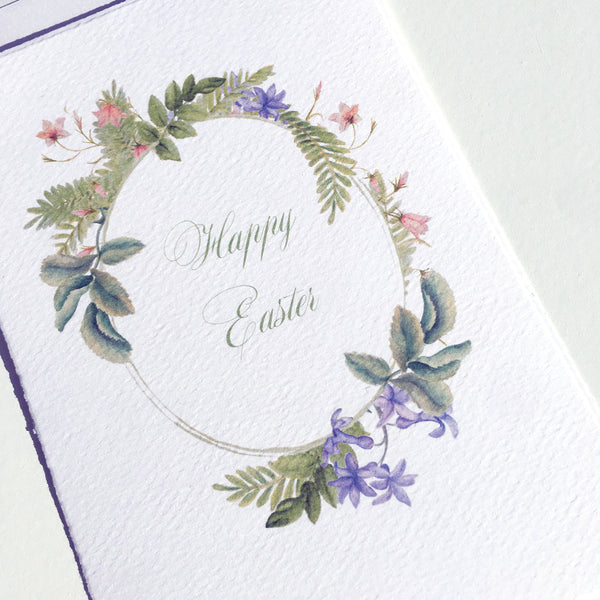 Easter Floral Wreath Greeting Card