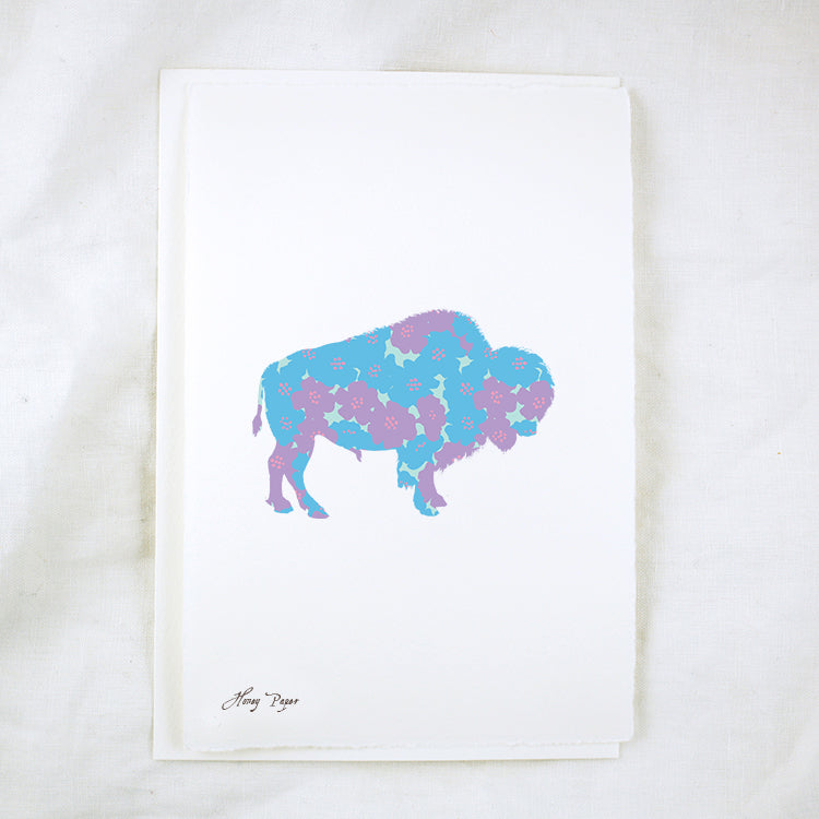 Silhouette Floral Bison