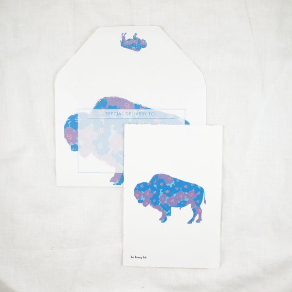 Silhouette Floral Bison Greeting Card
