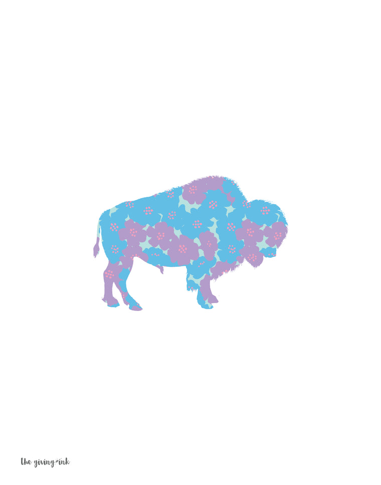 Floral Bison Downloadable Print