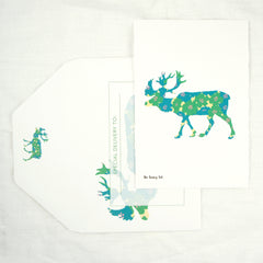Silhouette Floral Elk Greeting Card