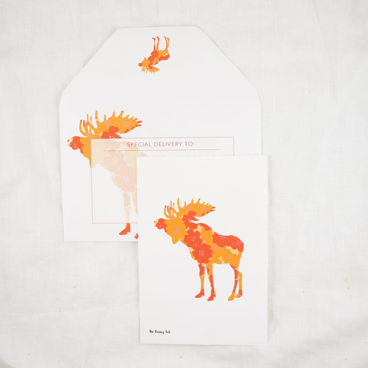Silhouette Floral Moose Greeting Card