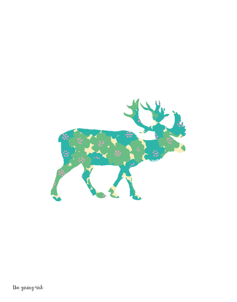 Floral Elk Downloadable Print