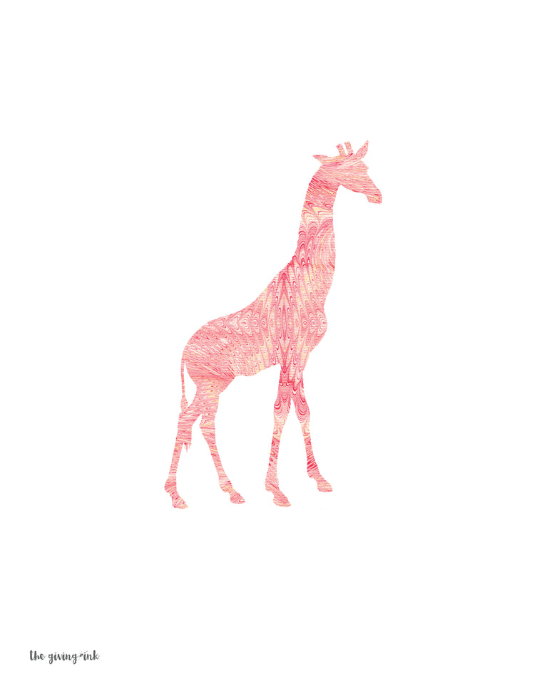 Giraffe Pink Italian Paper Downloadable Print
