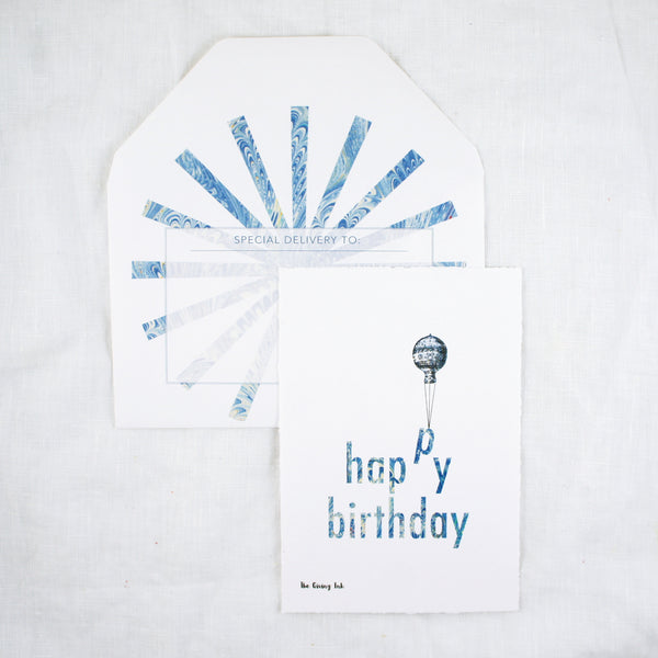 Silhouette Happy Birthday Balloon Greeting Card
