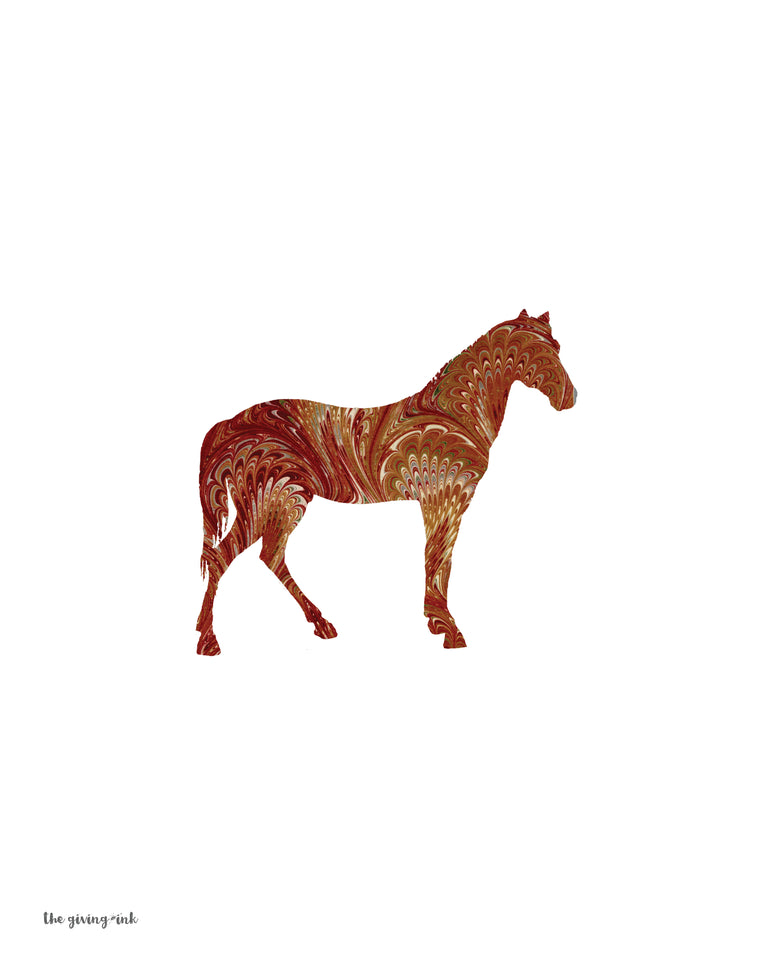 Horse Brown Italian Paper Downloadable Print
