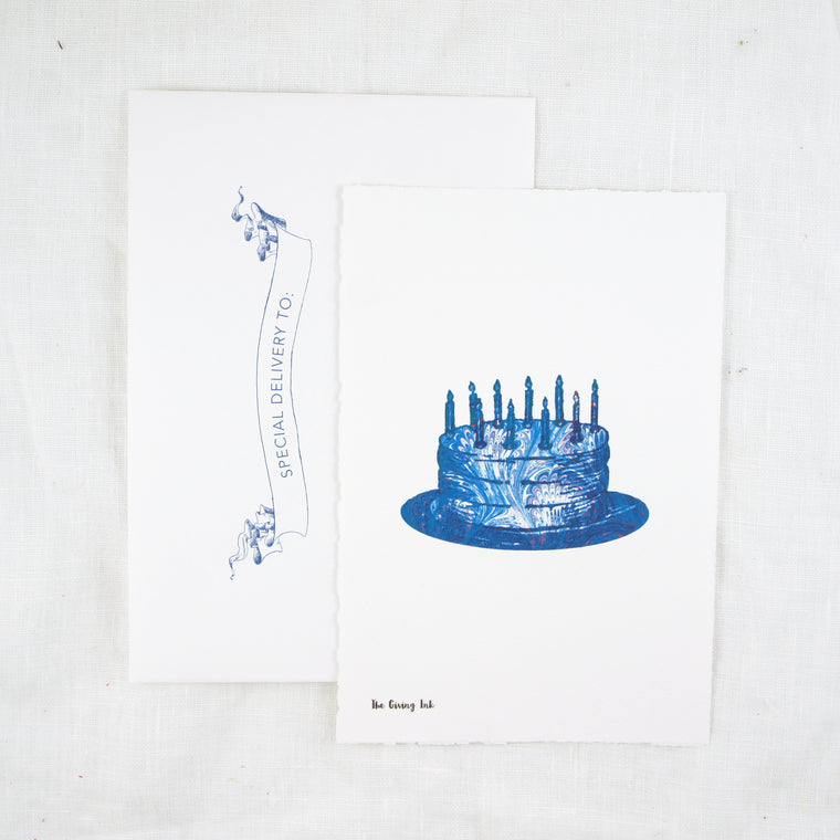 Silhouette Blue Cake Greeting Card