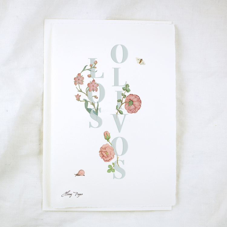 Floral Text Los Olivos Greeting Card