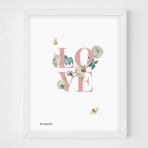 Floral Text Love Print