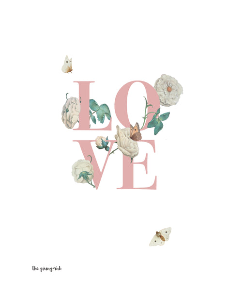 Floral Text Love Downloadable Print
