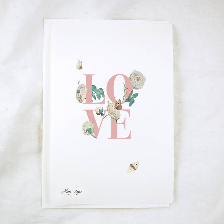 Floral Text Love Greeting Card