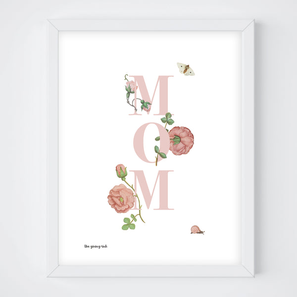 Floral Text Mom Downloadable Print