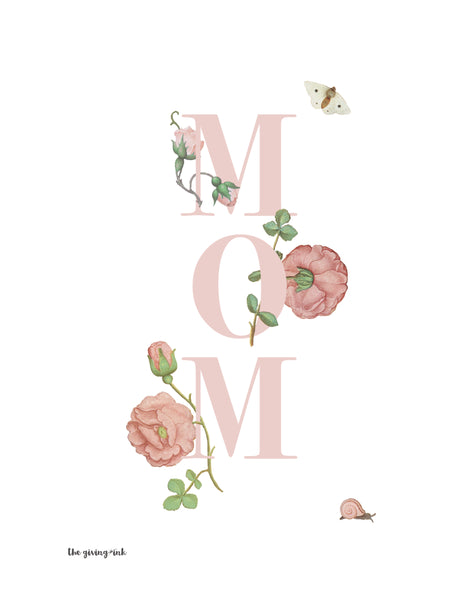 Floral Text Mom Print