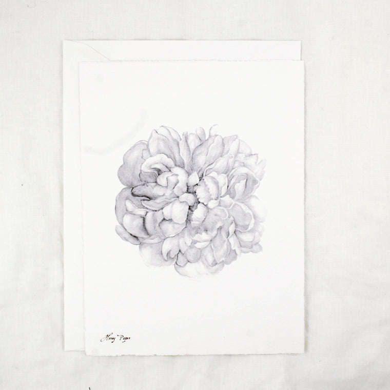 Black and White Peony Greeting Cards and Notecard Sets