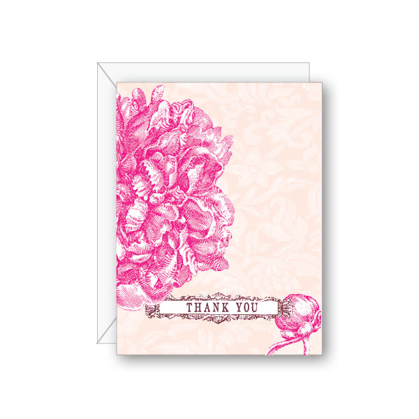 Peony Thank You Greeting Card - NOW 40% OFF