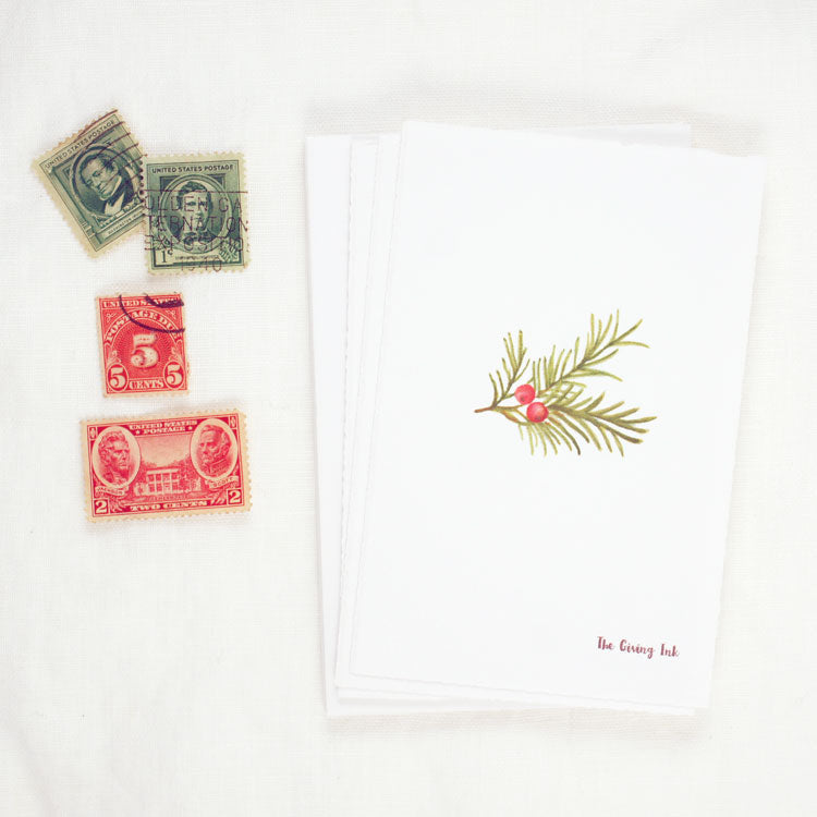 Pine Bough Greeting Card and Notecard Sets