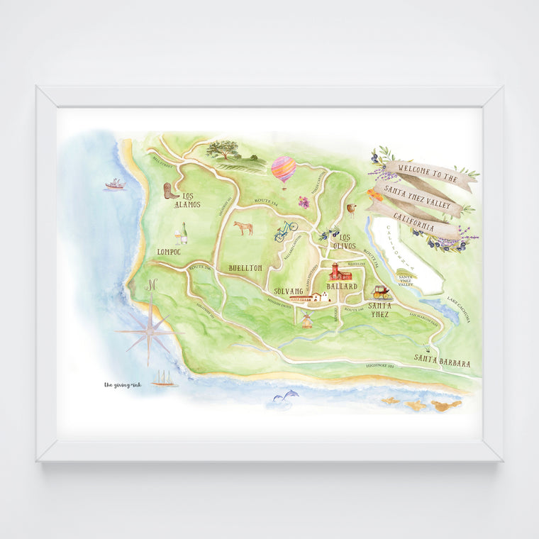 Santa Barbara County Map Print