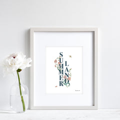 Floral Text Summerland Print