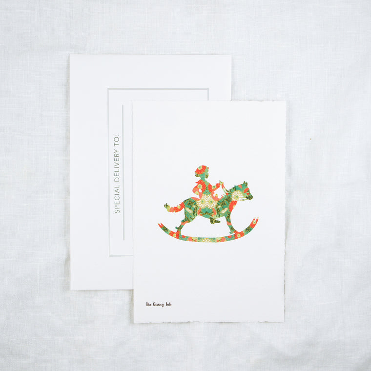 Silhouette Rocking Horse Greeting Card
