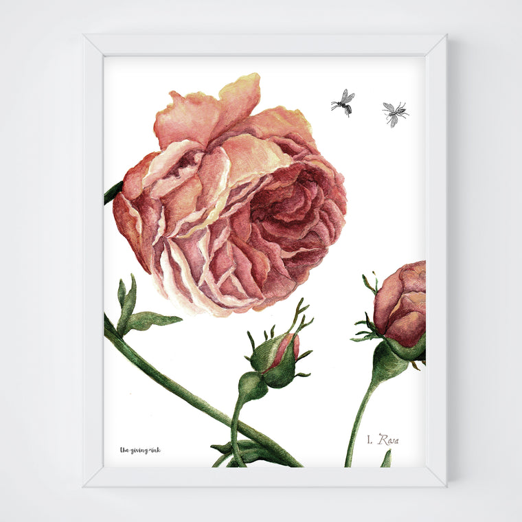 Dark Abstract Rose Print