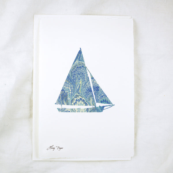 Sailboat Italian Paper Silhouette Greeting Card