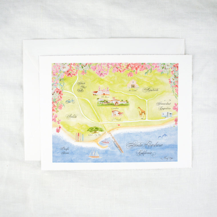 Santa Barbara Map Keepsake Card