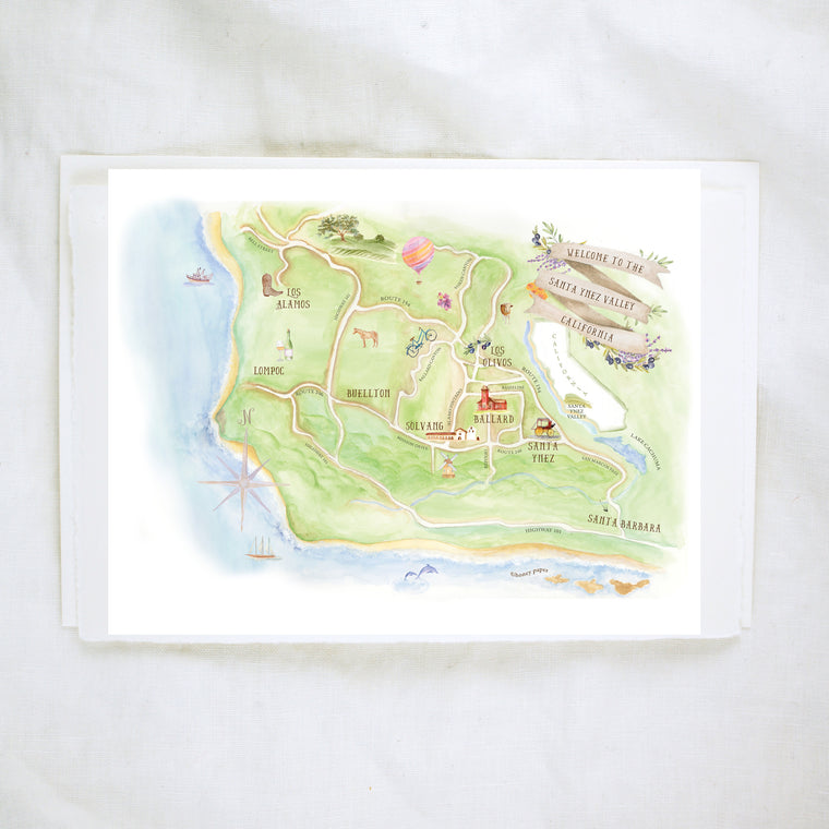 Santa Barbara County Map Keepsake Card