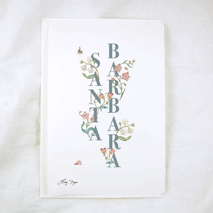 Floral Text Santa Barbara Greeting Card