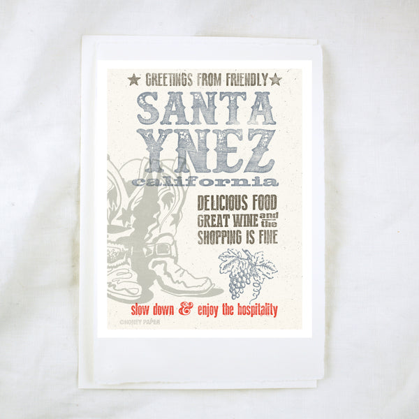 Woodblock Santa Ynez Greeting Card