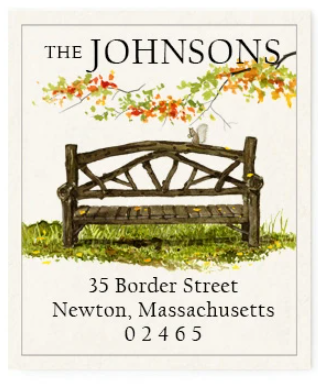Custom Address Stickers - Central Park Bench