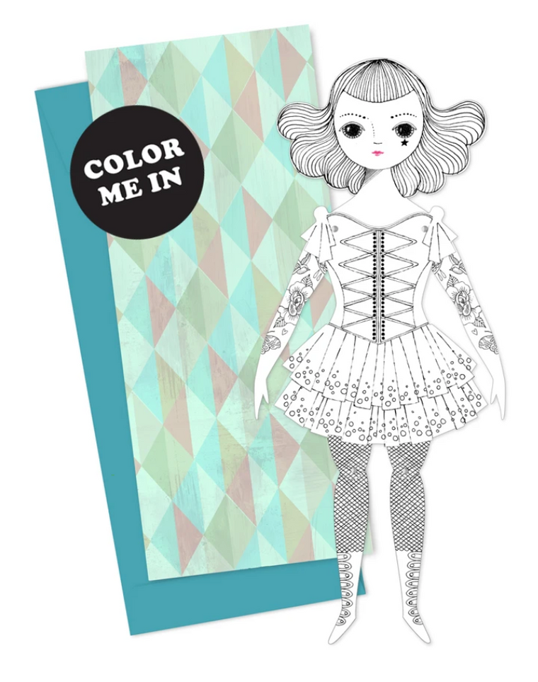 Mailable Paper Doll - Amelia to Color-In