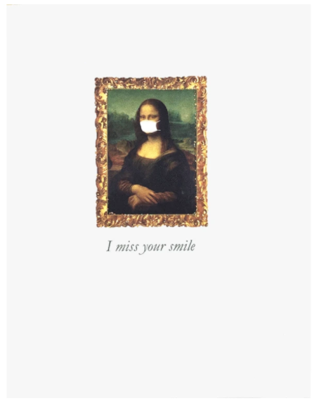 Mona Lisa Masked Greeting Card