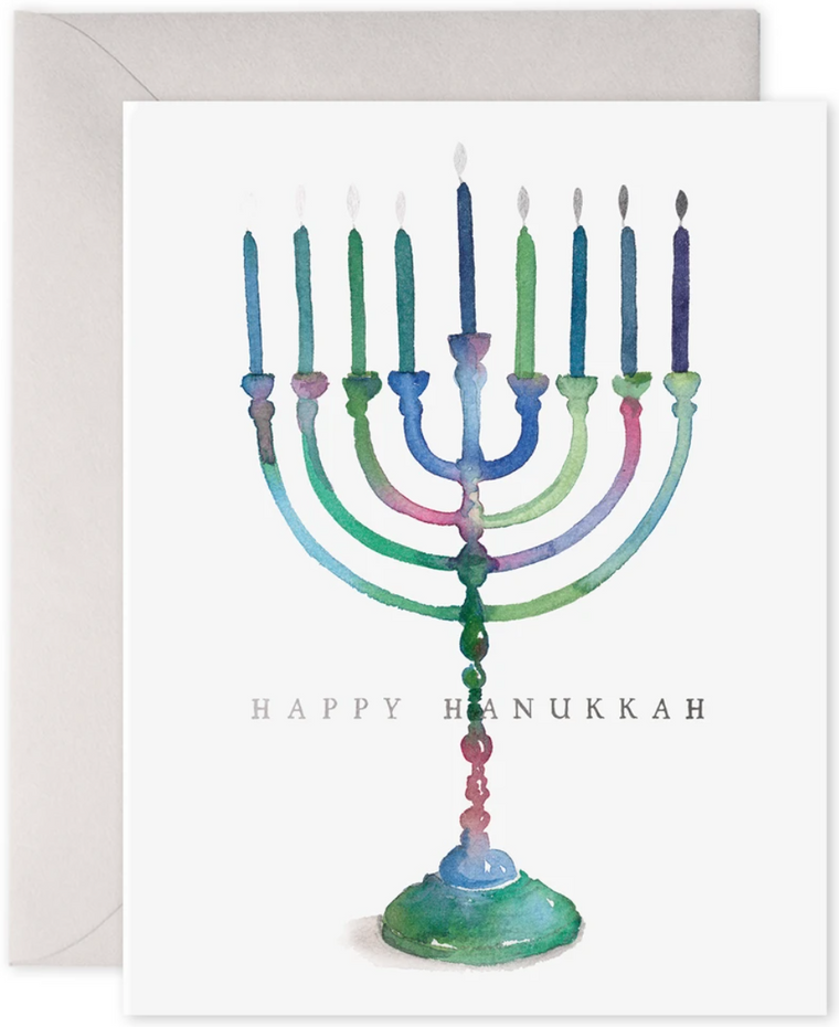 Colorful Menorah Greeting Card
