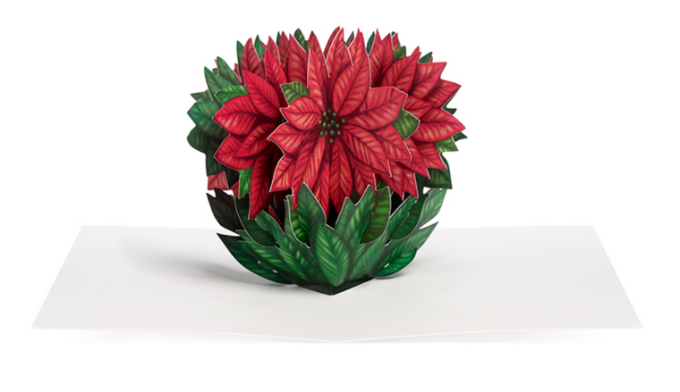 Cheerful Poinsettia Pop-Up Greeting Card